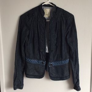 Anthropologie Elevenses blue jean jacket. Sz 4